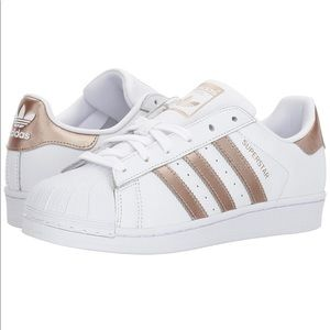 NWT Adidas Superstars with Rose Gold Stripes